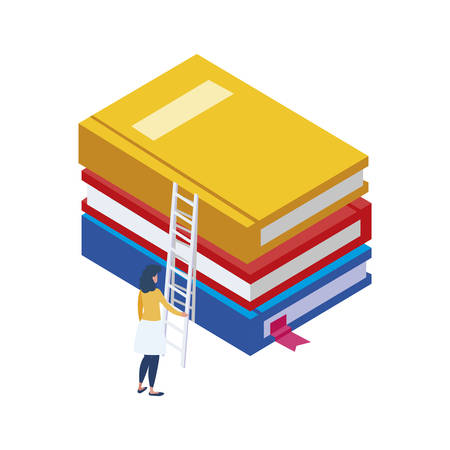 text book with minipeople workers vector illustration design 向量圖像