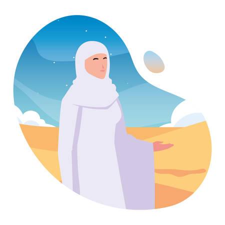 woman pilgrim hajj , day of Dhul Hijjah vector illustration design