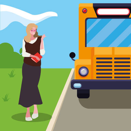female teacher in bus stop vector illustration design Иллюстрация