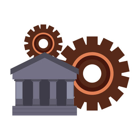 business bank gears on white background vector illustration