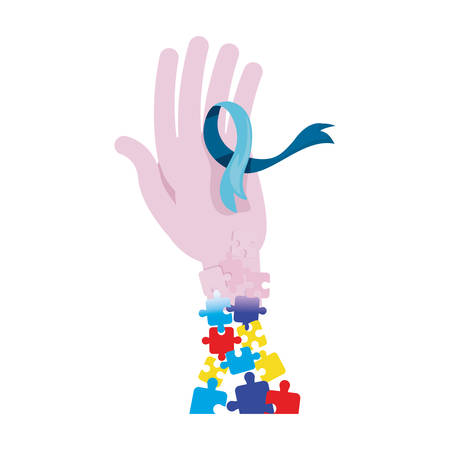 hand with ribbon puzzles autism awareness day vector illustration