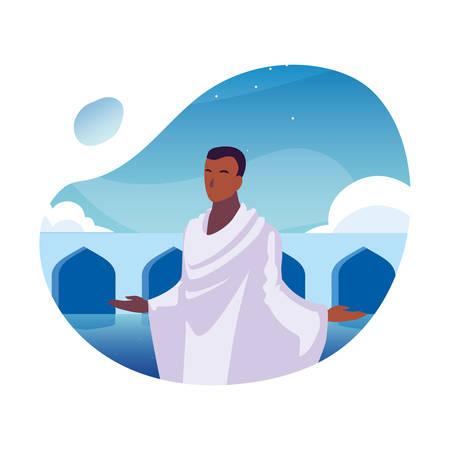 man pilgrim hajj , day of Dhul Hijjah vector illustration design