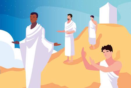 men pilgrim hajj , day of Dhul Hijjah vector illustration design