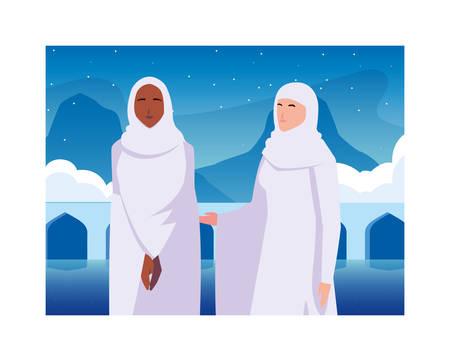 women pilgrim hajj , day of Dhul Hijjah vector illustration design Illusztráció