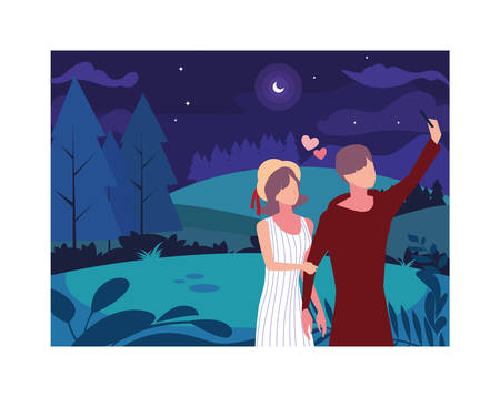 couple of people in love walking in park with night landscape vector illustration design