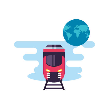 train travel vehicle with world planet vector illustration design Фото со стока - 134894150