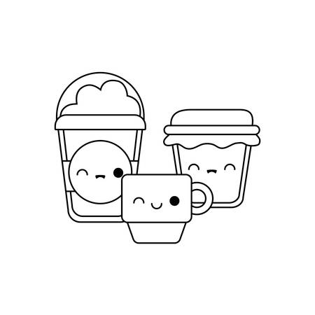 cup with set food kawaii style vector illustration design Illusztráció