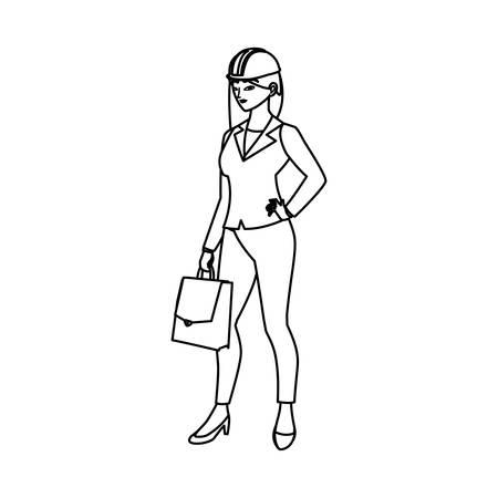 female engineer worker avatar character vector illustration design