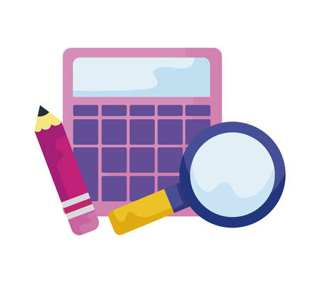 calculator with magnifying glass and pencil vector illustration design