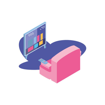tv screen and remote control with sofa in front vector illustration design