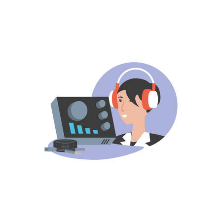 cute young woman with earphones and audio console vector illustration design Illustration
