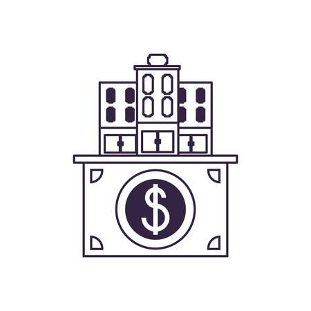 hotel building place in bill dollar vector illustration design