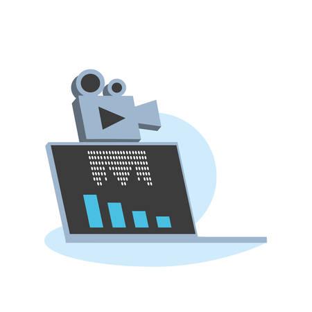laptop computer media player technology vector illustration design Ilustrace