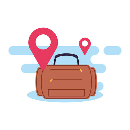 travel suitcase equipment with pin location vector illustration design 向量圖像