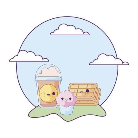 milkshake with set food in landscape kawaii style vector illustration design
