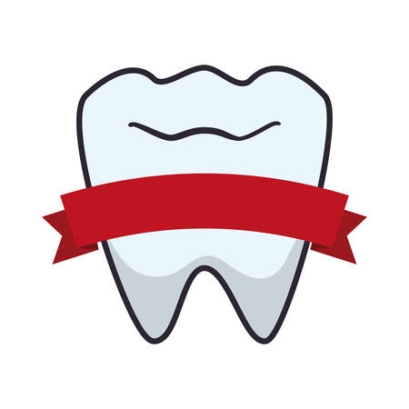 tooth human with ribbon vector illustration design