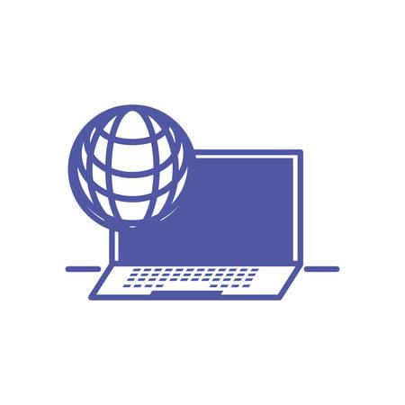 laptop computer with sphere browser vector illustration design Illustration