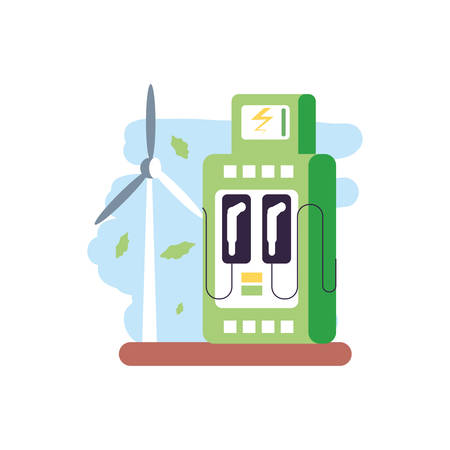 windmill air power with energy electric service station vector illustration design