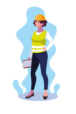 Woman engineer design, Worker profession industry construction technology and occupation theme Vector illustration