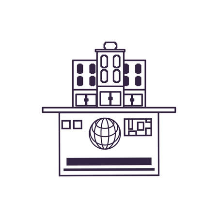 hotel building place in credit card vector illustration design Ilustracja