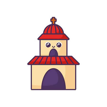 catholic church on white background vector illustration design Illustration