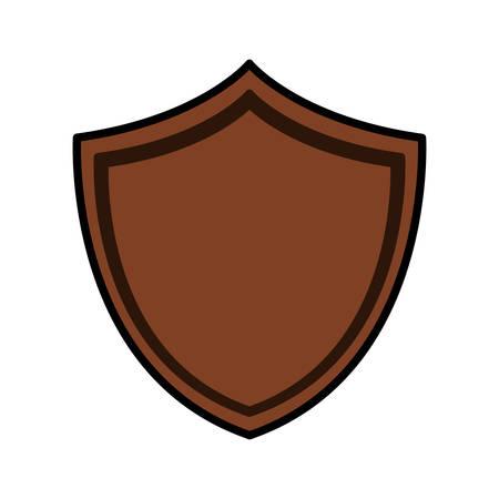 shield of wood on white background vector illustration design Ilustração