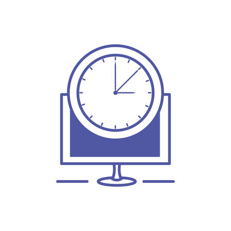 time clock watch with monitor computer vector illustration design