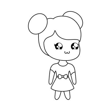 cute little girl kawaii style vector illustration design