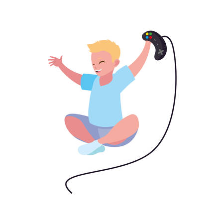 happy little boy playing video game character vector illustration design