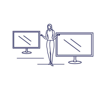 silhouette of woman with computer screen in white background vector illustration design