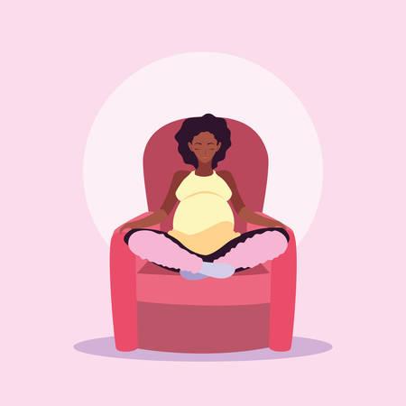 woman pregnant sitting in sofa avatar character vector illustration design