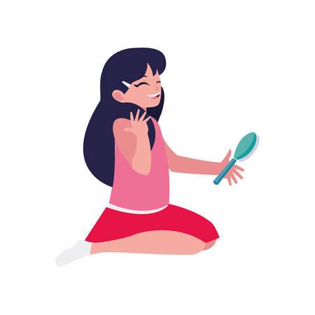 happy little girl combing character vector illustration design Stock Illustratie