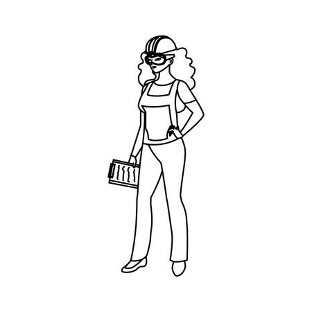female builder construction avatar character vector illustration design 일러스트