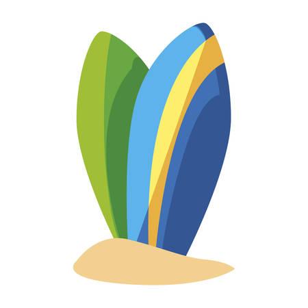 summer sand beach with surfboards vector illustration design Stock Illustratie