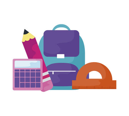 school bag with calculator and set supplies vector illustration design