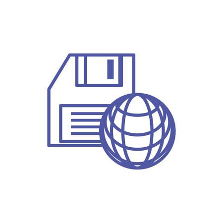sphere browser technology with floppy disk vector illustration design