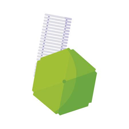 beach chair wooden and umbrella summer icon vector illustration design