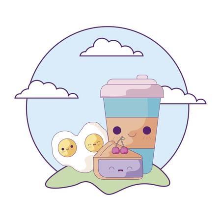 bottle drink with set food in landscape kawaii style vector illustration design Reklamní fotografie - 134902525