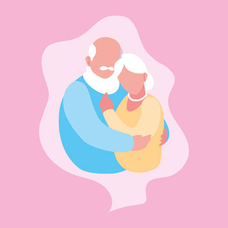 Cute old couple hugged in frame vector illustration design