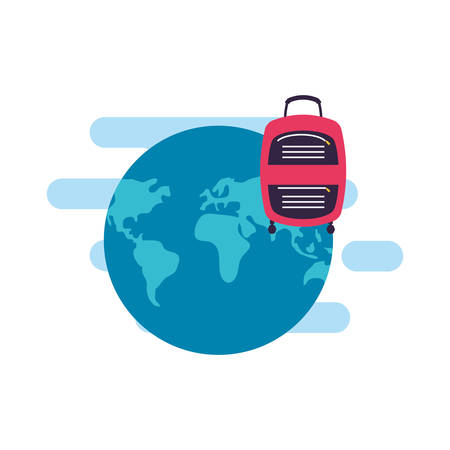 travel suitcase equipment with world planet vector illustration design