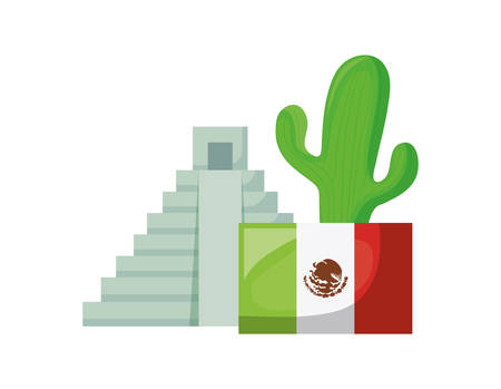 aztec temple with set of icons on white background vector illustration design Ilustrace