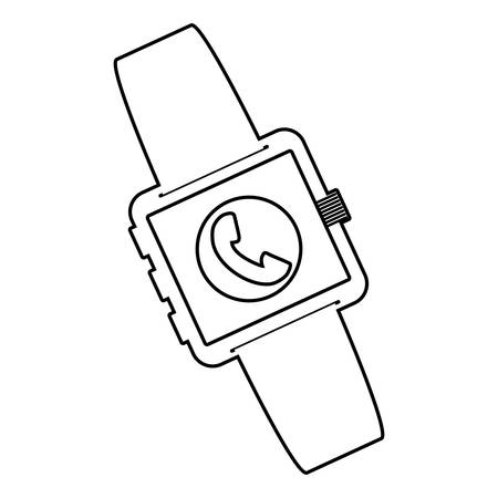smartwatch technology with phone app vector illustration design