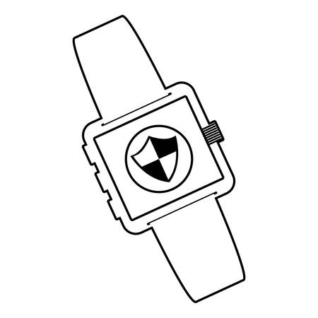 smartwatch technology with shield security app vector illustration design Фото со стока - 134921583