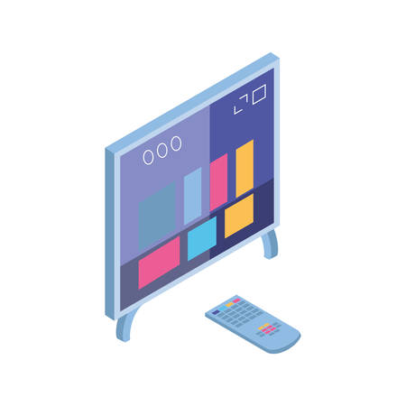 tv screen and remote control in white background vector illustration design