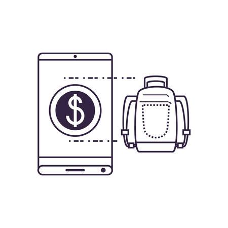 smartphone with suitcase travel app vector illustration design Vettoriali
