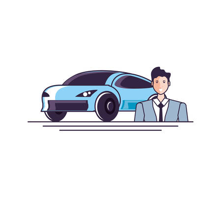 car sedan transportation with businessman vector illustration design