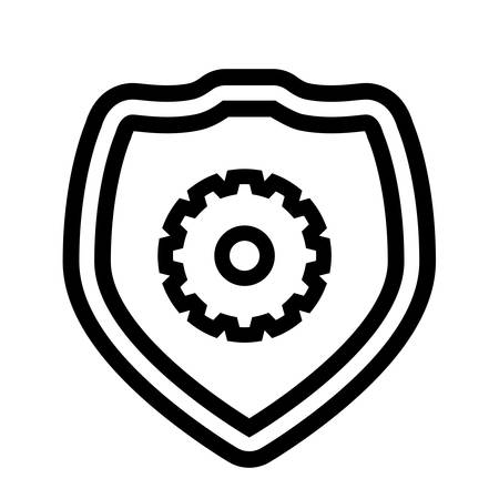 shield with gear machinery vector illustration design