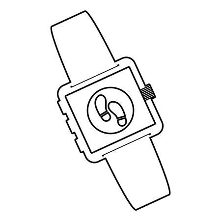 smartwatch technology with walk app vector illustration design Фото со стока - 134922658