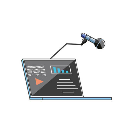 laptop computer with media player and microphone vector illustration design  イラスト・ベクター素材