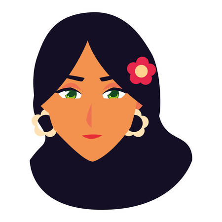 woman head design, Girl female person people human and social media theme Vector illustration
